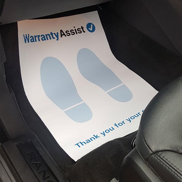 Paper Floor Mats Warranty Assist Dealer Shop
